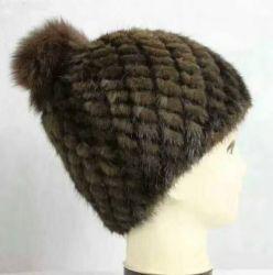 Señora Holidy sombrero de piel de invierno de la mujer Real tejidos a mano la tapa de piel de visón Beanie Beret Accesorios