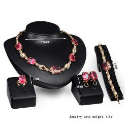 流行の宝石類のガラス石造りの合金のネックレスのブレスレットの耳リング