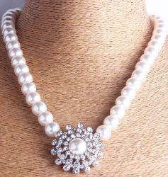 La moda de plata Rodio Cristal Pearl Necklace