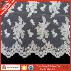 Tailian 2016 Nylon 100% Knitted Fabric Genuine Pearl con Lace per Wedding Dress