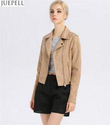 Otoño nuevos modelos en Europa y América marca Suede chaquetas de cuero Mujer Chaqueta de cuero fino corto párrafo de la moda