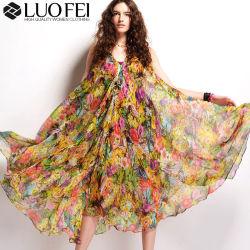 Collo floreale delle donne V più i vestiti di formato fatti in Cina