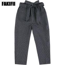 ODM personalizados, los niños ropa ropa de Chica negro tejido Casual Plaid pantalones flojos con Bownot Comercio al por mayor ropa de bebé