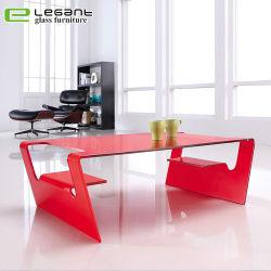 Rote Möbel, die gebogenen Glaskaffeetisch Heiß-Verbiegen