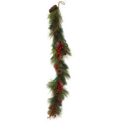 크리스마스는 나무 잎 인공적인 플라스틱 철사 빨간 과일 축제 훈장을 장식한다