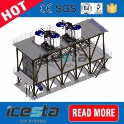 Icesta는 Raker 룸 안쪽에 얼음 Raker를 가진 제빙 공장을 컨테이너로 수송했다