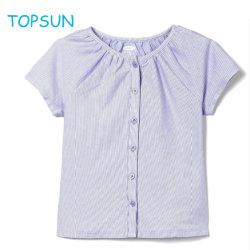 Babykleidung Sommerkragen blau gestreiftes T-Shirt, Bluse für Kinder