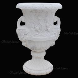 POT di fiore di marmo bianco naturale della piantatrice del giardino per la decorazione domestica