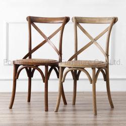 屋外の純木のカシの結婚式のイベントの家具の十字の背部食事の椅子