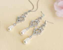 Pearl mariage CZ NECKLACE Bijoux Set, CZ, DE Bijoux de mariée demoiselle d'honneur bijoux Set, Don bijoux Set