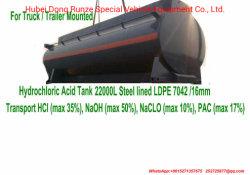 トレーラーによって取付けられる塩酸タンクによって並べられるLLDPE 7042 21000リットル、22000リットル、25000リットル