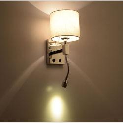 Современный отель на прикроватном мониторе светодиодные светильники настенные лампы фонарей с ткань тени для чтения