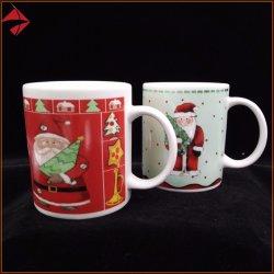 Comercio al por mayor imagen personalizada de cerámica promocionales impresos realizados 11 Oz tazas de café para Navidad