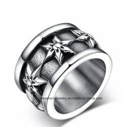 Vintage fleur en acier inoxydable noir Men's ring bague Punk
