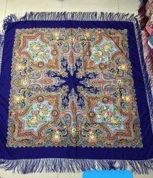 140 * 140cm Yiwu Woge fábrica novo Maxi Slavonic Scarfs estilo Stole Tippet Floral Print Lady Cotton Polyester Square fringes Russian shawl