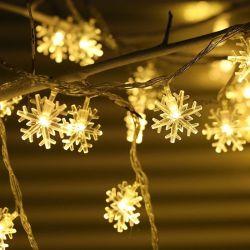 Dekorative LED-Schneeflockenleuchten 1,5m batteriebetriebene Feenlichter Für Schlafzimmer Patio Weihnachtsbaum Dekorationen