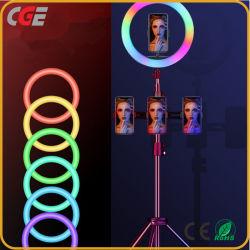 Anillo de luz LED Selfie Trípode con lámpara de anillo para fotografía iluminación de Youtube Teléfono Clip de fotos de la cámara del equipo titular