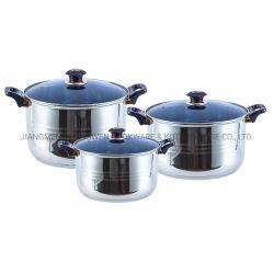 6PCS het Koken van de Braadpan van het Metaal van de Toebehoren van de keuken de Reeks van Cookware van het Roestvrij staal van Potten