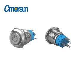 19mm elektrische Tasten 16mm LED, das Drucktastenschalter-piezo Schalter-Drucktastenschalter verriegelt