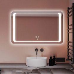 [5مّ] فضة مرآة منزل يجعل زخرفة فوق تفاهة جدار يعلى [لد] غرفة حمّام مرآة مع [ديجتل كلوك]