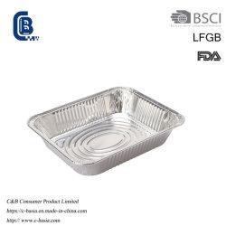 3500 Ml metade descartáveis Pan, com metade do tamanho do recipiente de alumínio, utensílios de cozinha Bolo de lâmina de cozedura Pan, Fast Food contentor com tiras de tampas de embalagens