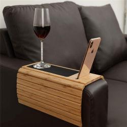 Sofá de bambu bebida Mesa Coaster Bandeja alimentar com suporte por telefone