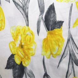 상한 면 공단 직물을 인쇄해 노란 로즈