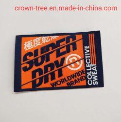 Logotipo personalizado etiqueta tejida lavable de alta densidad de satén para decoración de prendas de vestir