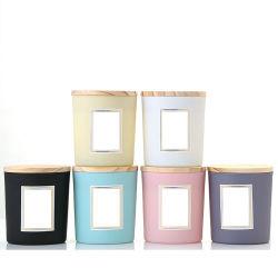 Bougie en verre décoratif Jar de couleur en vrac avec couvercle en bois