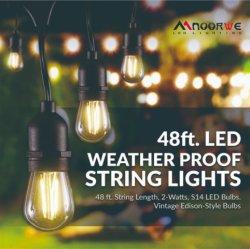 Chaîne d'éclairage extérieurs, 48FT Heavy Duty étanches IP65 chaîne LED commercial Patio intérieur/extérieur, de feux de chaîne d'éclairage extérieurs