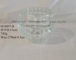 8.5Oz Ball-Shaped bougeoir en verre clair avec finition gaufrée