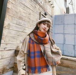 Bufanda de invierno chequeo sobredimensionado chal tejido de una gran Bufanda de doble cara