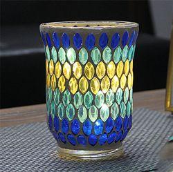Nuova lampada da vento a lume di candela in vetro mosaico fatto a mano Decorazione