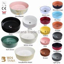 Usine Chaozhou WC Salle de bains La dernière conception Multi-Color Bassin d'art porcelaine sanitaire