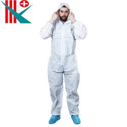 Tute di protezione totale monouso di tipo 5, 6, colore bianco, cappuccio a 3 strati con certificazione CE