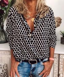 Chaud Printemps Automne personnalisé de vente à la mode à manchon long d'impression de Plaid Chemises femmes Plus Size Tops occasionnel pour les femmes
