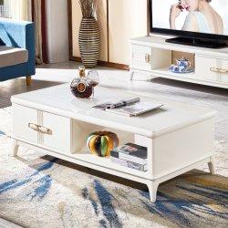 Muebles de Salón MDF moderna mesa de café de vidrio blanco