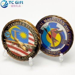 カスタム3D亜鉛合金の金属の芸術のクラフトの旧式な青銅色のエポキシの記念品のギフトのマレーシアの軍の空軍軍隊の飛行機モデル挑戦硬貨のホールダーの団体の硬貨