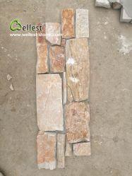 Горячая продажа Z форма солнечно желтый бежевый настенной панели цемента в зацепление Slate Quartzite культуры шпона камня