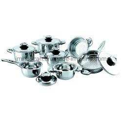 Specchio dell'acciaio inossidabile degli accessori della cucina di alta qualità che lucida il Cookware di 12PCS Sonex impostato con il coperchio
