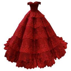 빨간 Prom 가운 레이스 뚱뚱한 신부 무도회복 포도주 색깔 악센트 결혼 예복 2021 E1914