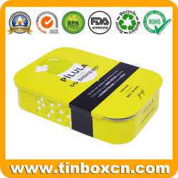 Горячая продажа Custom прямоугольные медицины конфеты сладкий десен мяты и таблетки сдвижной Тин коробки с металлическими ползунок крышки багажника