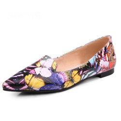 Los zapatos de cuero suave de estilo europeo All-Matching señaló la convergencia de las niñas solo zapatos planos