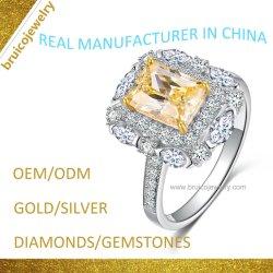 Anillo de Bodas de Diamante de lujo moda 925 plata Anillo de dedo Custom joyas de oro con gema para el acoplamiento