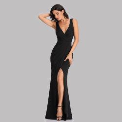 Mermaid simple nueva Sexy elegante cuello V vestido vestido de noche cena ppara obtener parte de la PROM