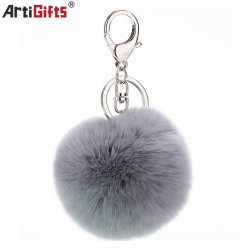 Cadeau promotionnel en fausse fourrure gris en peluche personnalisé de la chaîne de clé