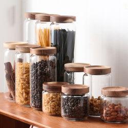 325/500/750/1000/1800ml en verre borosilicaté haute cuisine d'accueil Utiliser l'alimentation conteneur de stockage Jar Canister avec couvercle étanche en bois de qualité d'Acacia