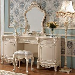Festes Holz-Abziehvorrichtung-Tisch mit dem Kleiden des Schemels für Schlafzimmer-Möbel
