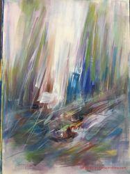 ハンドメイドの元の水彩画の概要の景色のキャンバスの油絵