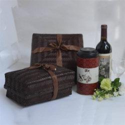 Commerce de gros Rectangler bambou naturel tissé panier cadeau du vin
